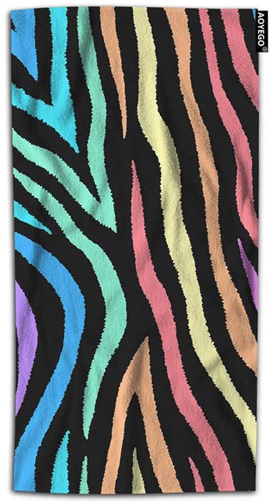 AOYEGO Colorful Leopard Hand Towel 15x30 Inch Neon Lines Rainbow Stripes Zebra Animal Skin Towel Face Hand Towel Soft Microfiber Kitchen Bathroom for Boys Girls Men