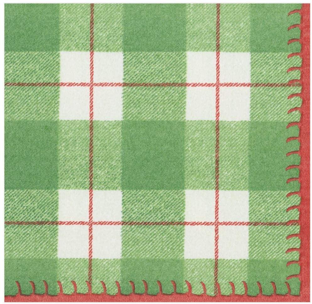 Caspari Plaid Check Paper Linen Dinner Napkins in Green, Two Packs of 12