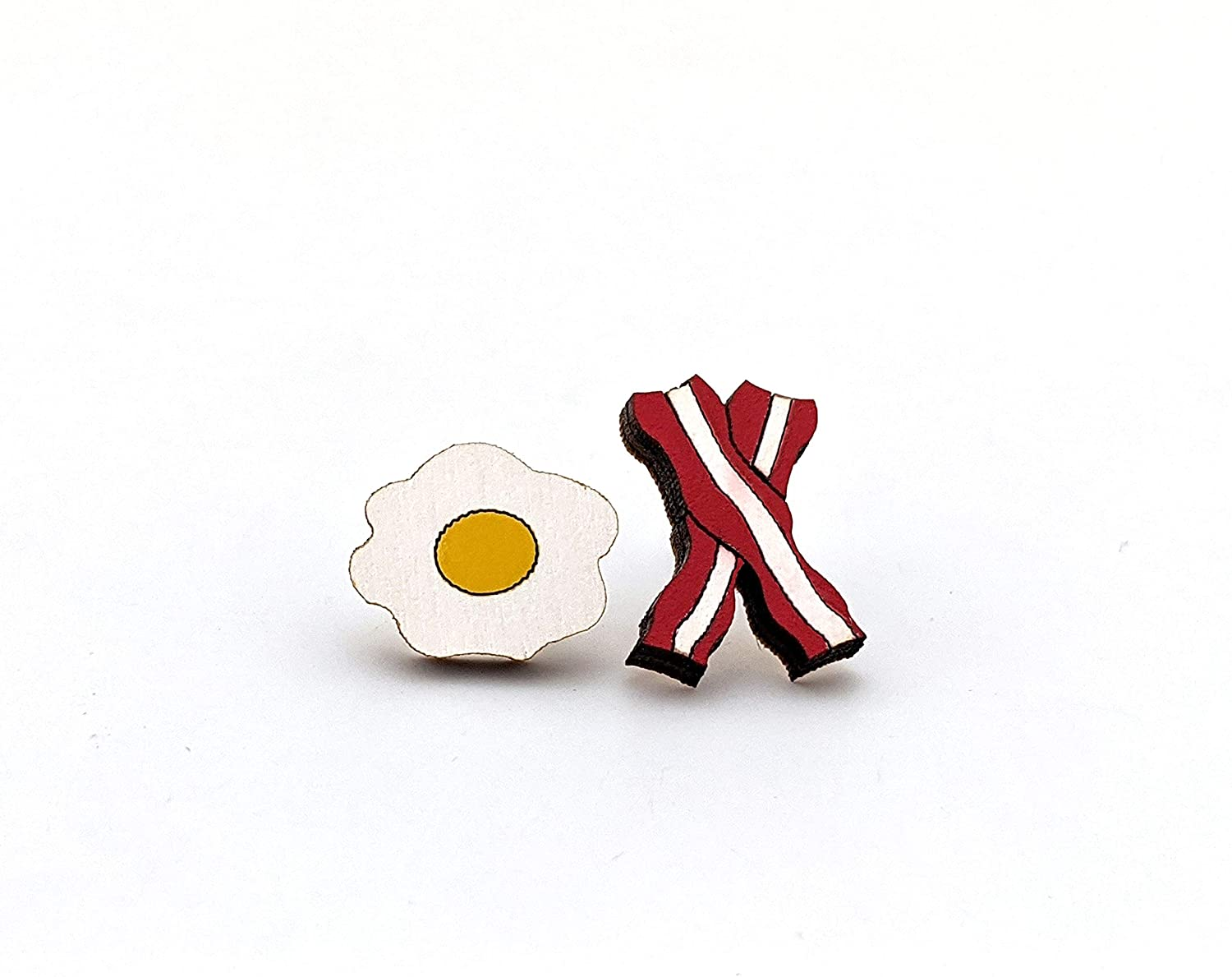 Unpossible Cuts Food | Handpainted Laser Cut Wood Earrings from Handmade in The USA (Bacon & Eggs)