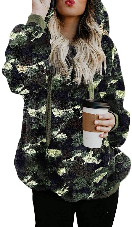 Women Sherpa Fuzzy Fleece Pullover Hoodies Camo Tie Dye Casual Hooded Sweatshirts Coats