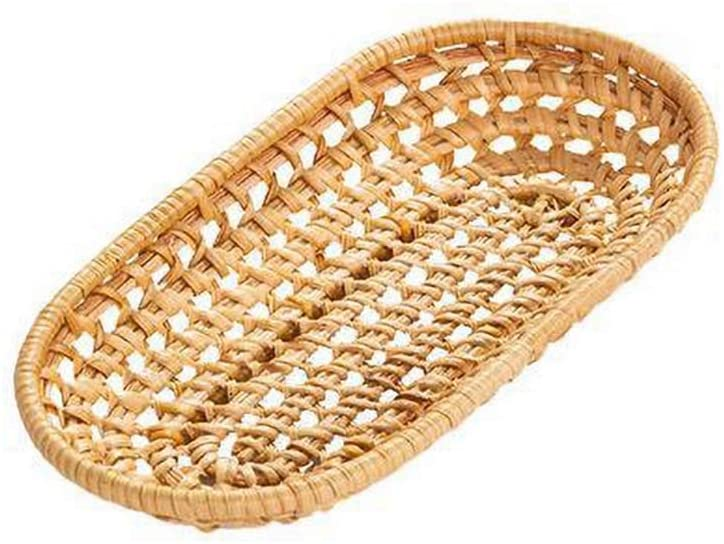 UUME Handmade Woven Rattan Bread Storage Tray Round Oval Shape Rattan Fruit Basket Dinner Coffee Breakfast Serving Tray(Rectangle S)