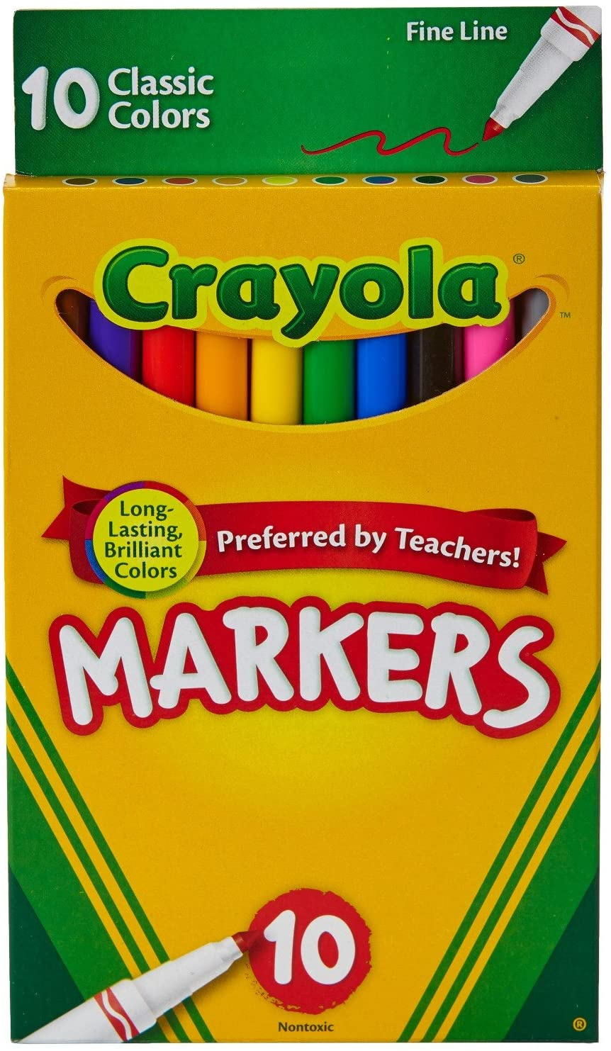 Crayola Fine Line Markers, Assorted Classic 10Ct - Pack of 1