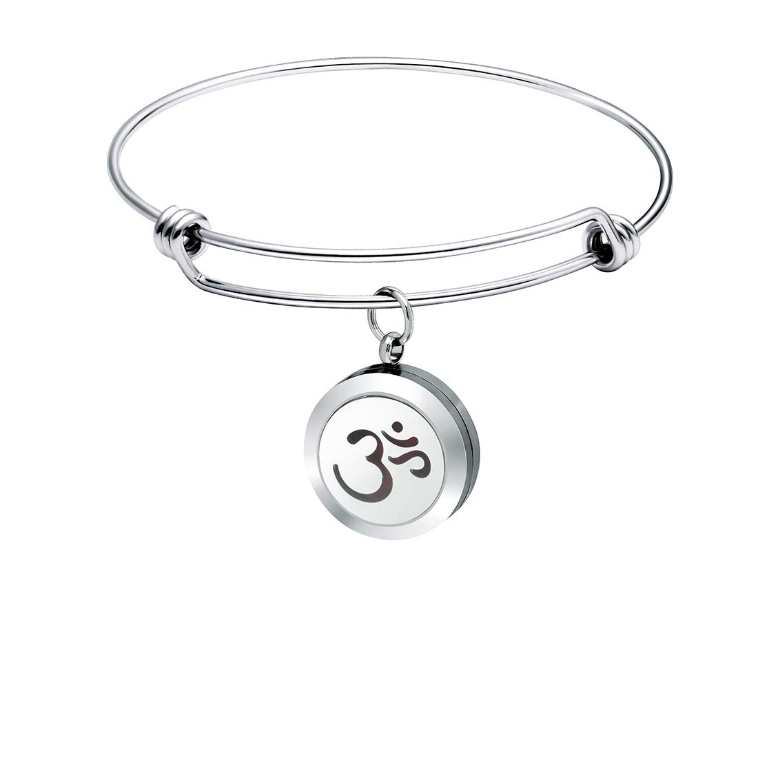 Yoga Jewelry for Women Essential Oil Diffuser Bracelet Aromatherapy Expandable Bangle Birthday Gifts for Her 8 Colors Pads Stainless Steel