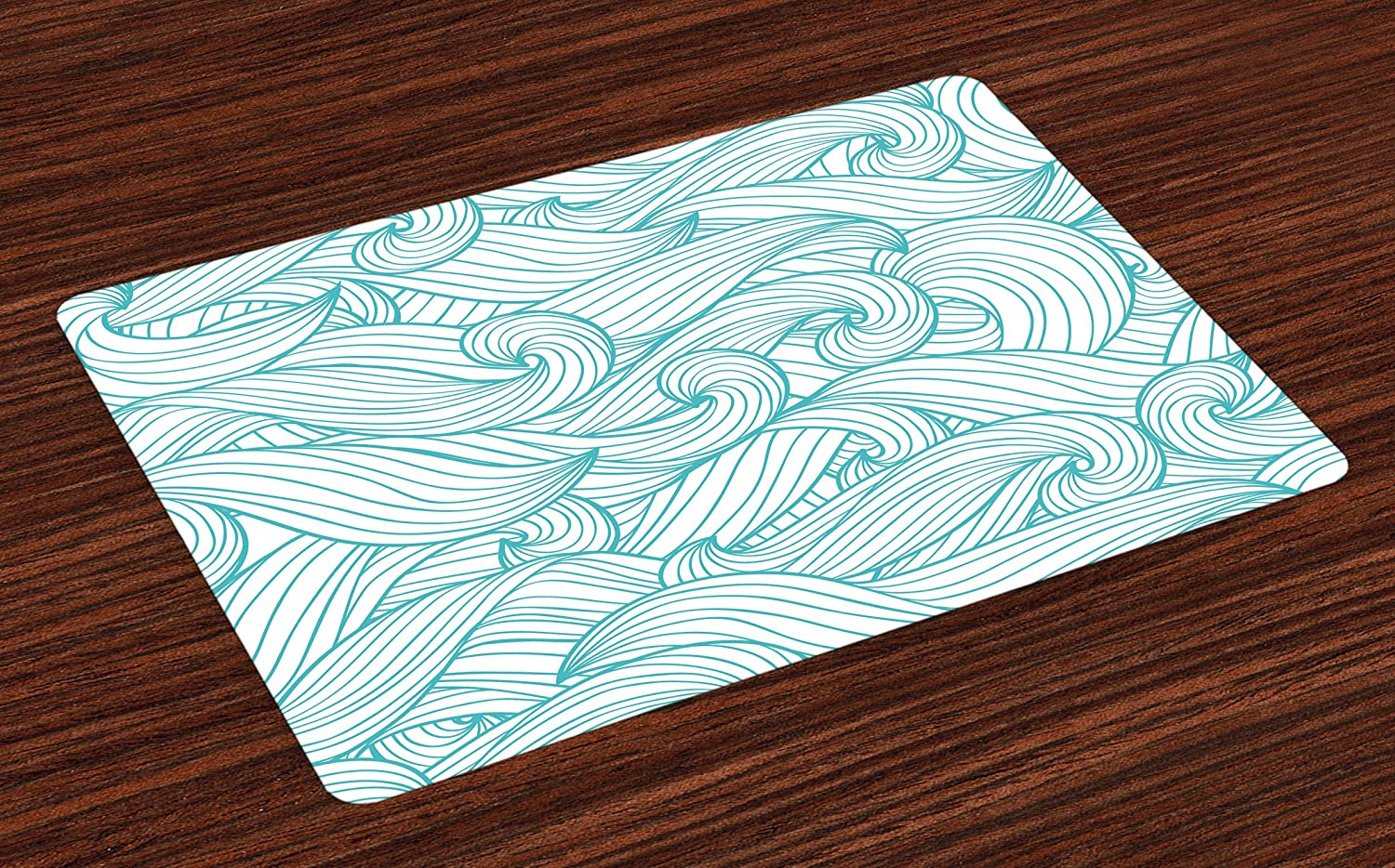 Lunarable Turquoise Place Mats Set of 4, Abstract Pattern with Waves and Cloud Fashion Modern Style Work of Art, Washable Fabric Placemats for Dining Table, Standard Size, Green White