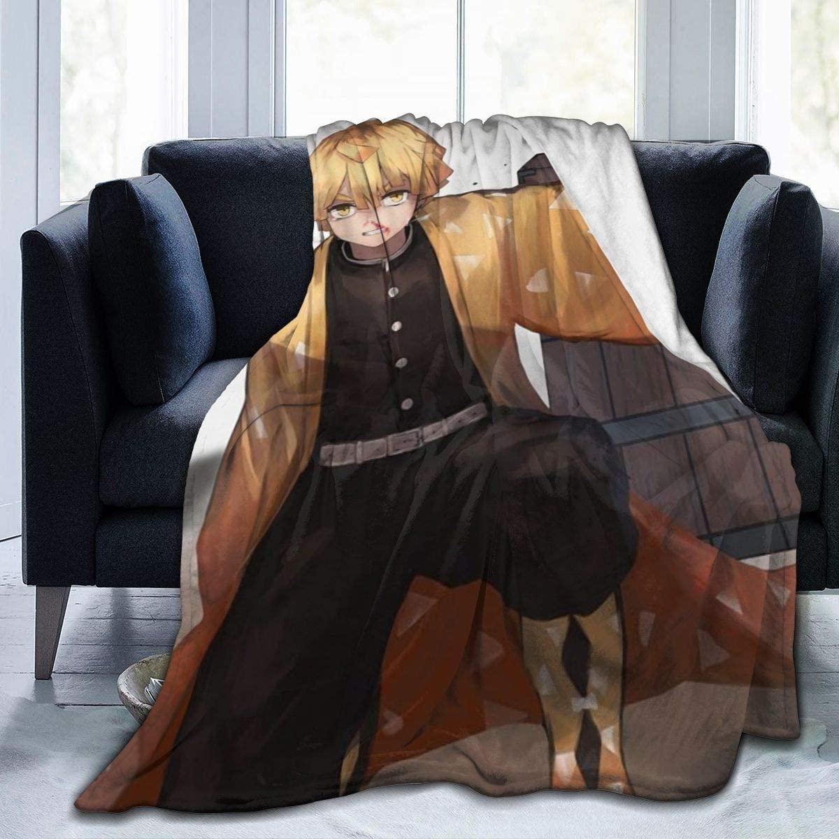 UNSUWU Luxury Fleece Fuzzy Blanket, Demon Slayer Lightweight Throw Blanket Warm Bed Blanket, Ultra-Soft Cozy Microfiber Blanket Fleece Blanket Travel Blanket, 50x40 inch