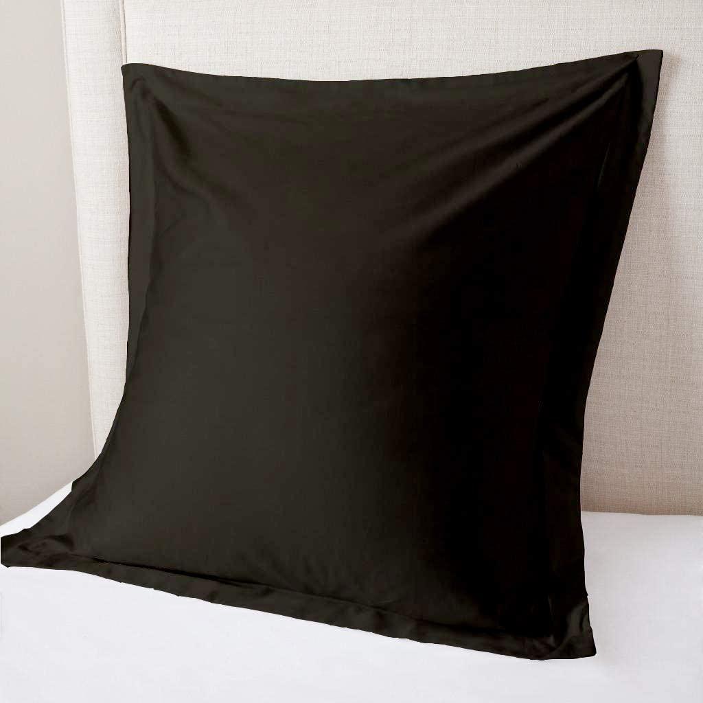 Sheetex 800 Thread Count Set of 2 Square Euro Pillow Shams Cushion Cover Black Solid, 100% Organic Cotton, Big Euro 28