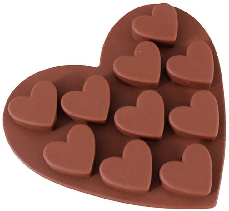 Raonshua 2Pcs Love Heart Shaped Silicone Dessert Molds Fondant Cake Chocolate Dessert Mold