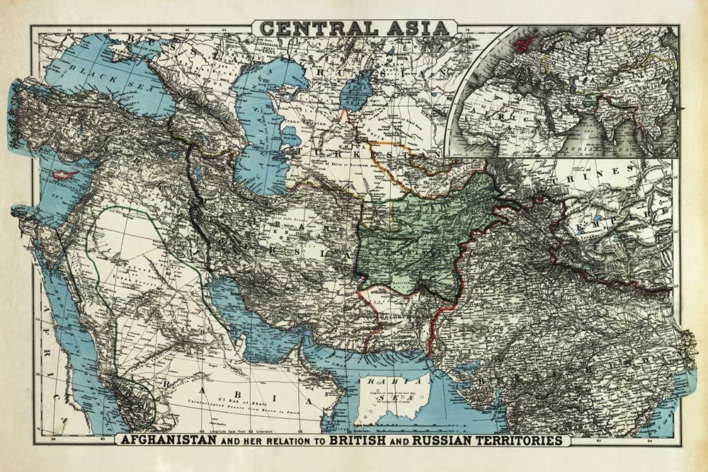 British and Russian Territories of Afghanistan - Panoramic Map (12x18 Art Print, Wall Decor Travel Poster)
