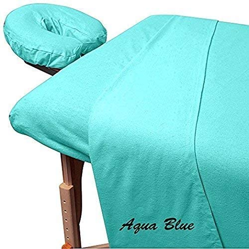 Beauty Spa Massage 600 Thread-Count Egyptian Cotton 3-Piece Massage Table Spa Sheet Set Fit up to 5-7