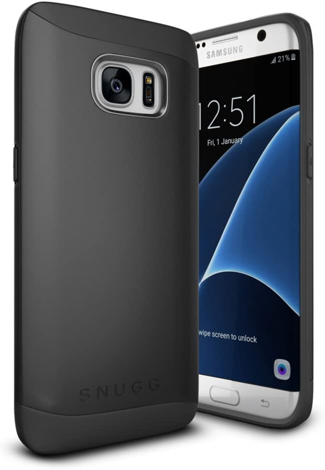 Galaxy S7 Edge Case, Snugg Samsung Galaxy S7 Edge Dual Layer Slim Case Cover [ Infinity Series ] - Protective Bumper Shell Skin - Black
