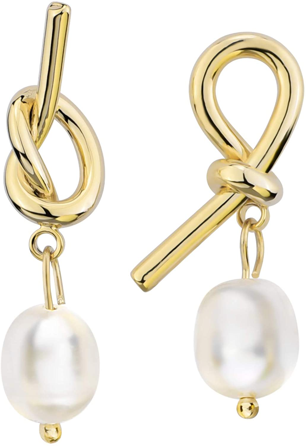 MOI 14K Gold Plated Natural Pearl Earrings Freshwater Pearls Drop Earrings for Women Sterling Silver Post