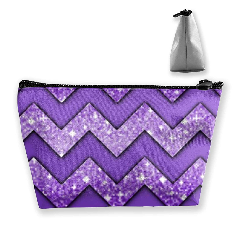 Women Purple Chevron Makeup Cosmetic Case Pouch Multipurpose Travel Makeup Train Case Premium Zipper