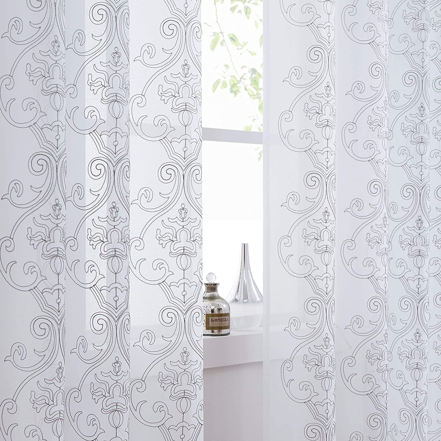 Amzedecor Sheer Curtain Panels Damask Embroidery Window Treatment Sets Grommets Top Drapes for Living Room,Dining Room,Schoolroom,White and Sliver Gray,55''x84'',Set 2