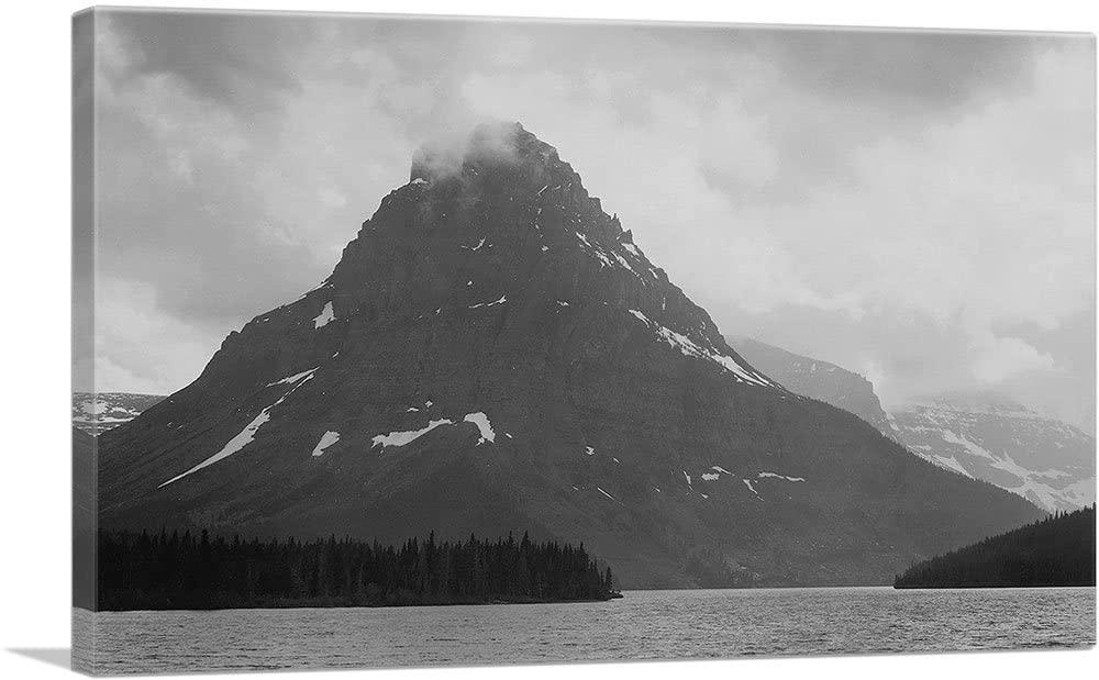 ARTCANVAS High, Lone Mountain Peak - Two Medicine Lake - Glacier National Park - Montana Canvas Art Print by Ansel Adams - 26 x 18 (0.75 Deep)