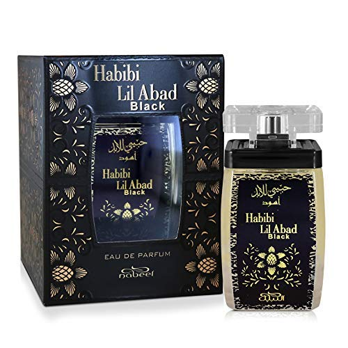 Habibi Lil Abad Black (Eau De Parfum) Unisex 100 ML (3.4oz) I Souq Collection I Featuring Notes: White Peach, Amyris, Cypriol, Amber, Musk, Vanilla, Oudh, Lemon, Red Pepper I by Nabeel Perfumes
