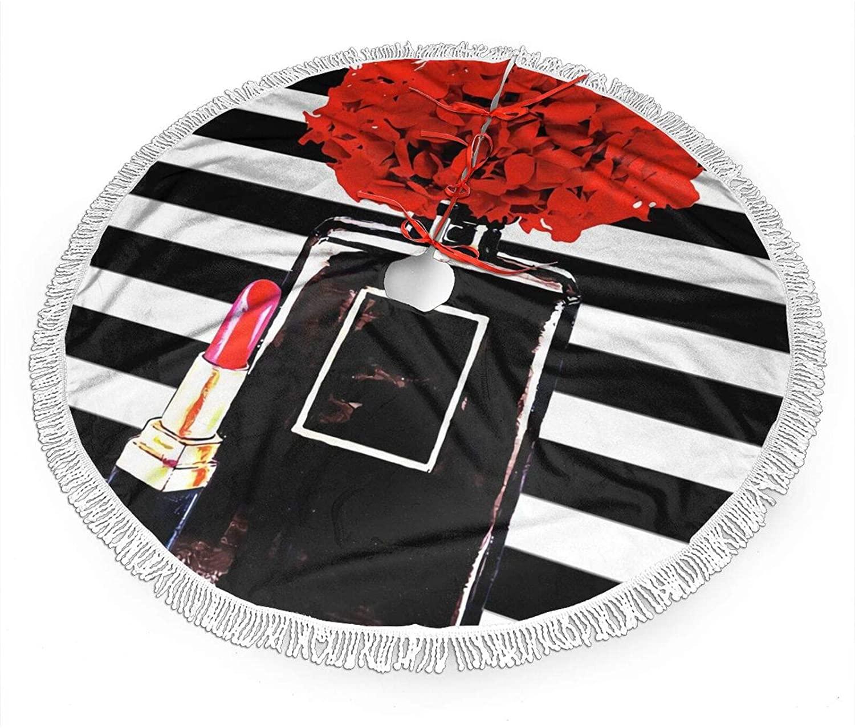 antkondnm Black Perfume Bottle and Lipstick Christmas Tree Skirt 36