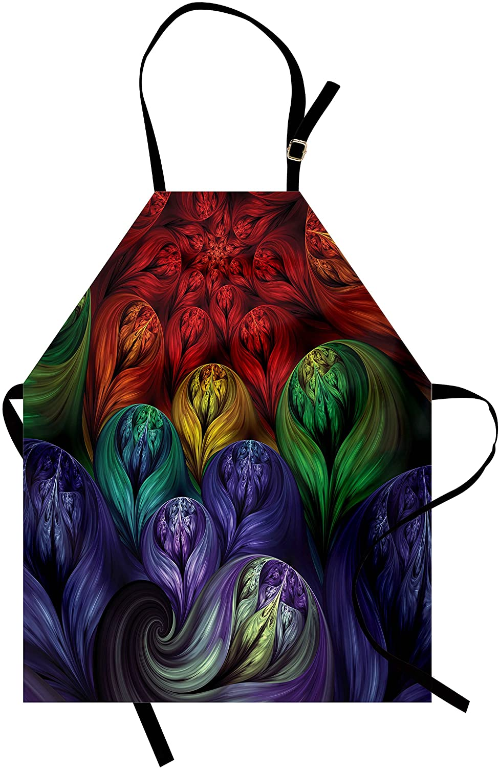 Lunarable Fractal Apron, Computer Generated Surreal Colorful Forms Modern Bohemian Fusion Creative Art, Unisex Kitchen Bib with Adjustable Neck for Cooking Gardening, Adult Size, Quartz