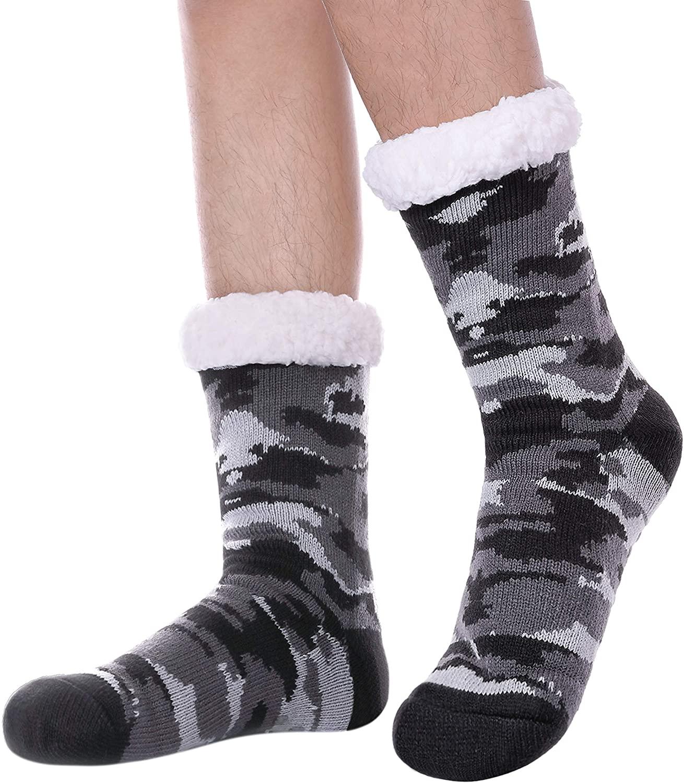 TRUEHAN Mens Warm Fluffy Fleece Lined Knit Home Non Slip Fuzzy Socks Thick Winter Slipper Socks With Snowflake Design
