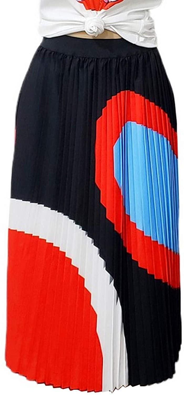 Women's High Waist Colorful Pleated A-Line Swing Midi Skirt