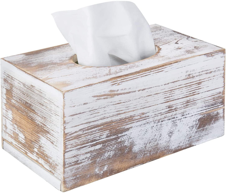 MyGift Shabby Whitewashed Wood Rectangular Tissue Box Cover
