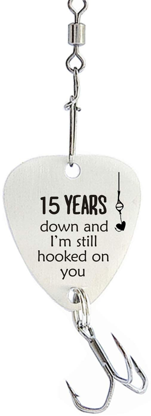 15th Wedding for Men 15 Year Anniversary Fishing Hook Gifts for Husband Christmas Birthday Valentines Day