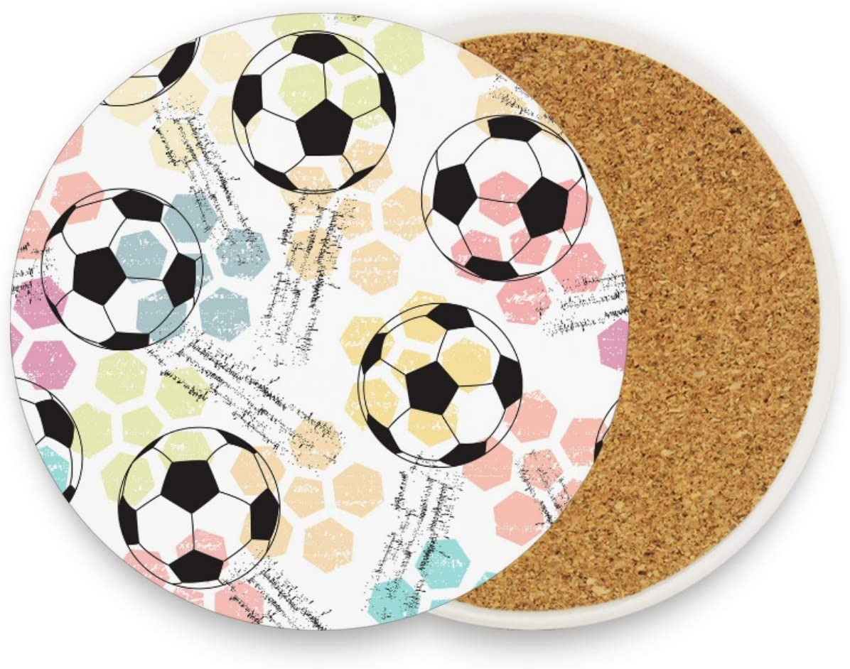 visesunny Footeball Colored Abstract Style Drink Coaster Moisture Absorbing Stone Coasters with Cork Base for Tabletop Protection Prevent Furniture Damage, 1 Piece