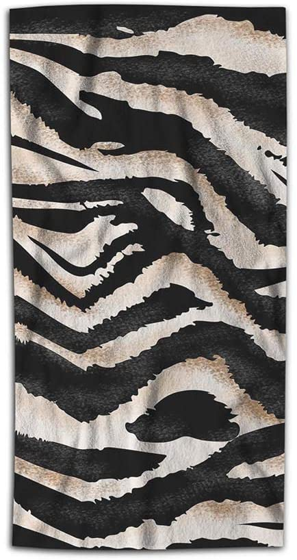 AOYEGO Zebra Leopard Hand Towel Animal Tiger Skin African Wildlife Towel 15x30 Inch Kitchen Bathroom Soft Microfiber Face Towel for Men Women