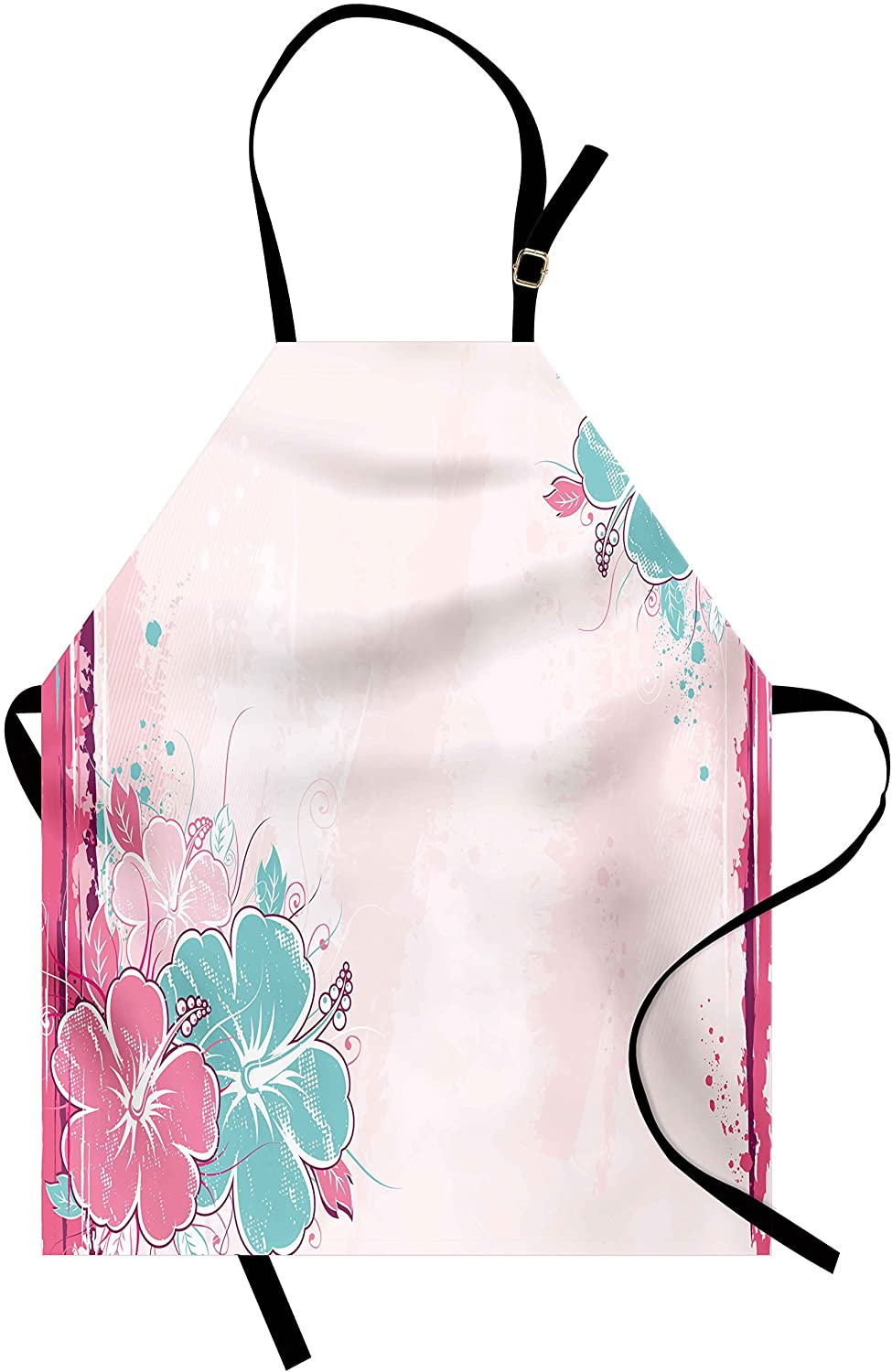 Ambesonne Flower Apron, Bouquet of Hibiscus Florets Exotic Nature Watercolor Style Artwork, Unisex Kitchen Bib Apron with Adjustable Neck for Cooking Baking Gardening, Pale Pink Fuchsia Turquoise