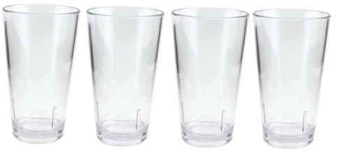 Acrylic Beer Pint Glasses - Break Resistant - 16 oz - Set of 4
