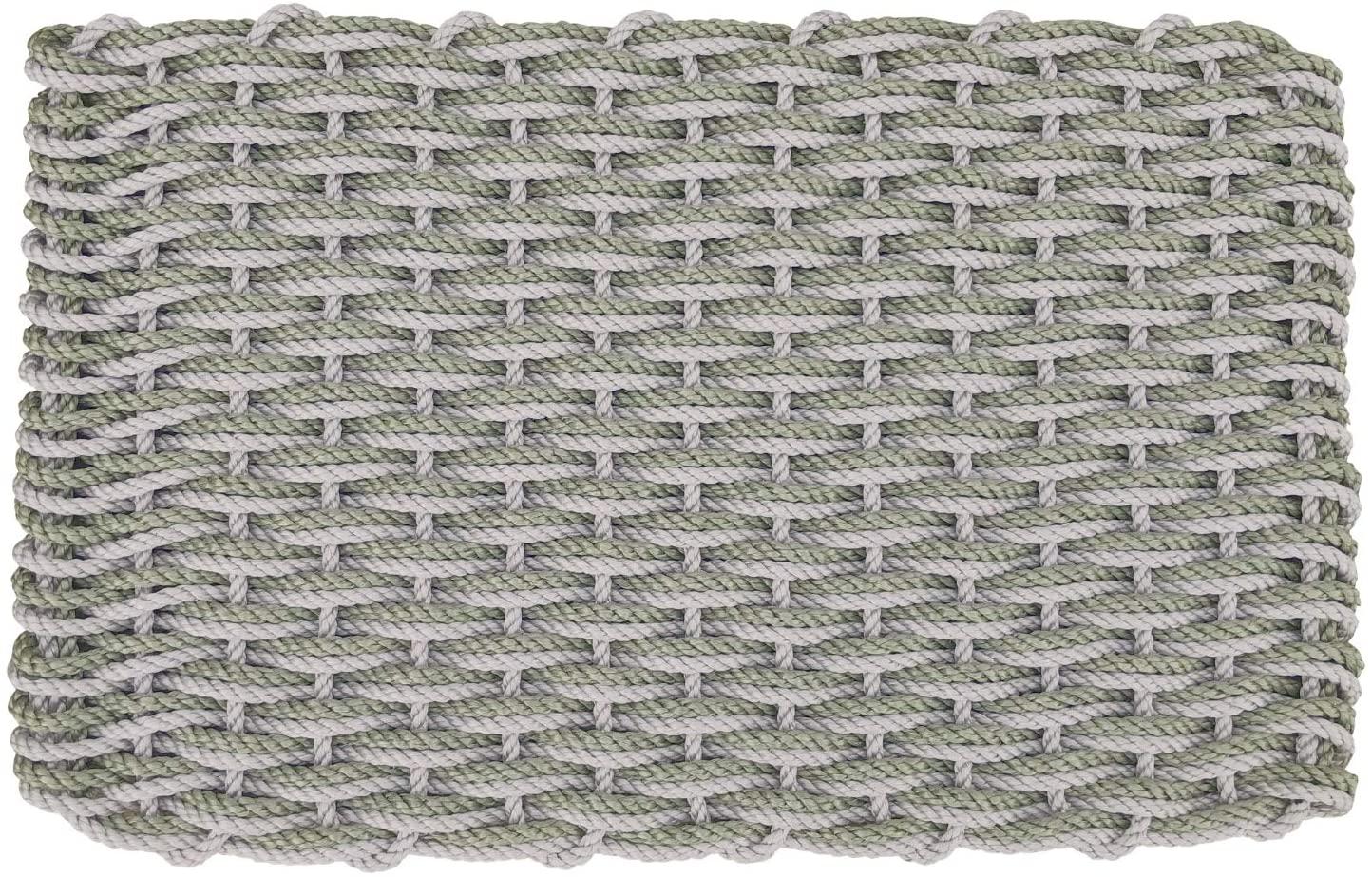 ColorWave Nautical Rope Doormat, Handwoven Lobster Rope Doormat, Cape Gray & Coastal Green, 18 x 30