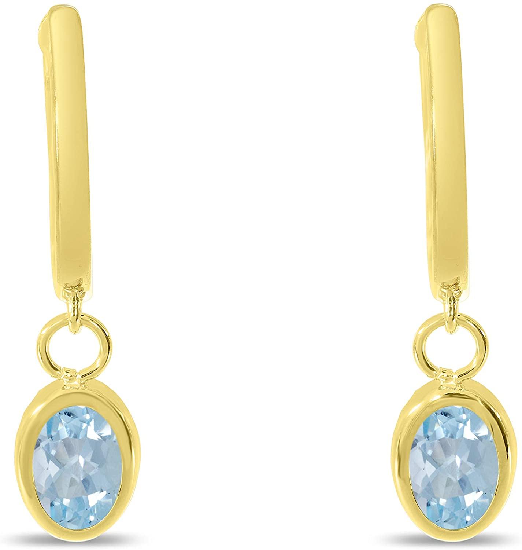 14K Gold Polished Hoop and Genuine Oval Gemstone Dangle Earrings