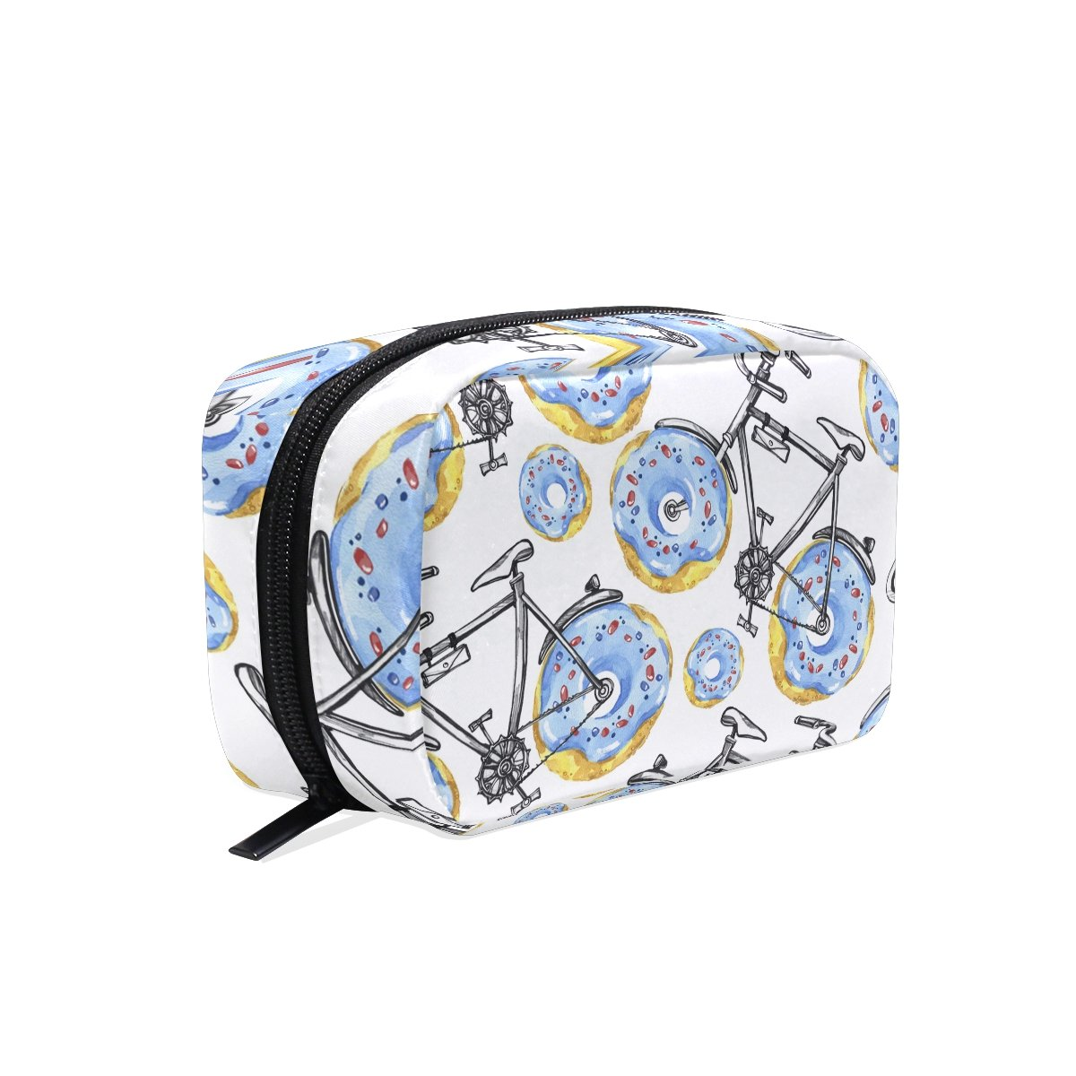 Makeup Bag Toiletry Bag Cosmetic Bags Bicycles With Donuts Wheels Storage Bag for Women Skincare Cosmetic Pouch