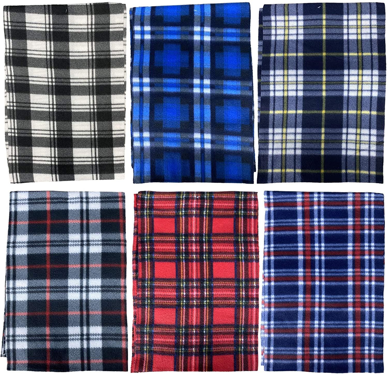Yacht & Smith Warm Fleece Knit Winter Neck Scarfs, Unisex Black, Plaid, Stripe Design