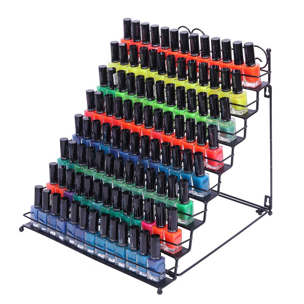 SSLine Mounted Nail Polish Wall Rack Organizer, 8 Tier Display Rack Holds Essential Oils Black (Type3)