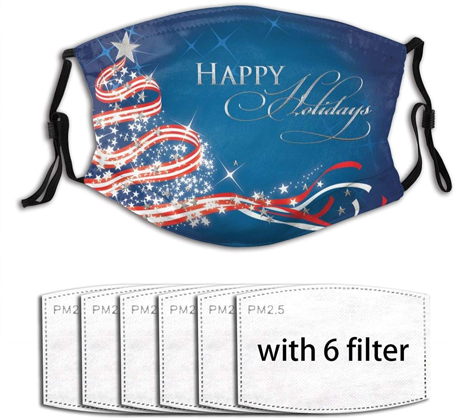 Patriotic Tree Christmas Card Face Mask With Filter Pocket And 6 Pcs Filters Washable Face Bandanas Balaclava Reusable Fabric Mask For Men Women