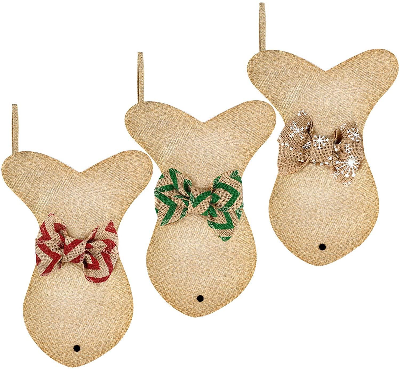Fish Burlap Christmas Stocking Hanging Xmas Stockings Pet Christmas Stockings with Bowknot for Christmas Holiday Family Decorations (Color Set 3, 3)