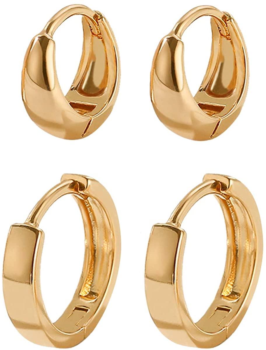 2 Pairs Huggie Hoop Earrings 14k Gold Filled Tiny Hoop Earrings Set Hypoallergenic Small Cartilage Earrings Minimalist Thick Chunky Sleeper Cuffs Earrings For Women Men Girls