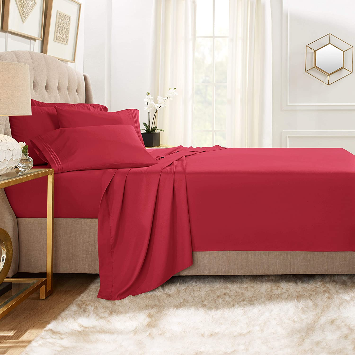 Clara Clark Premier 1800 Collection Bed Sheet Set with Extra Pillowcases Wrinkle, Fade & Stain Resistant, Full, Burgundy Red
