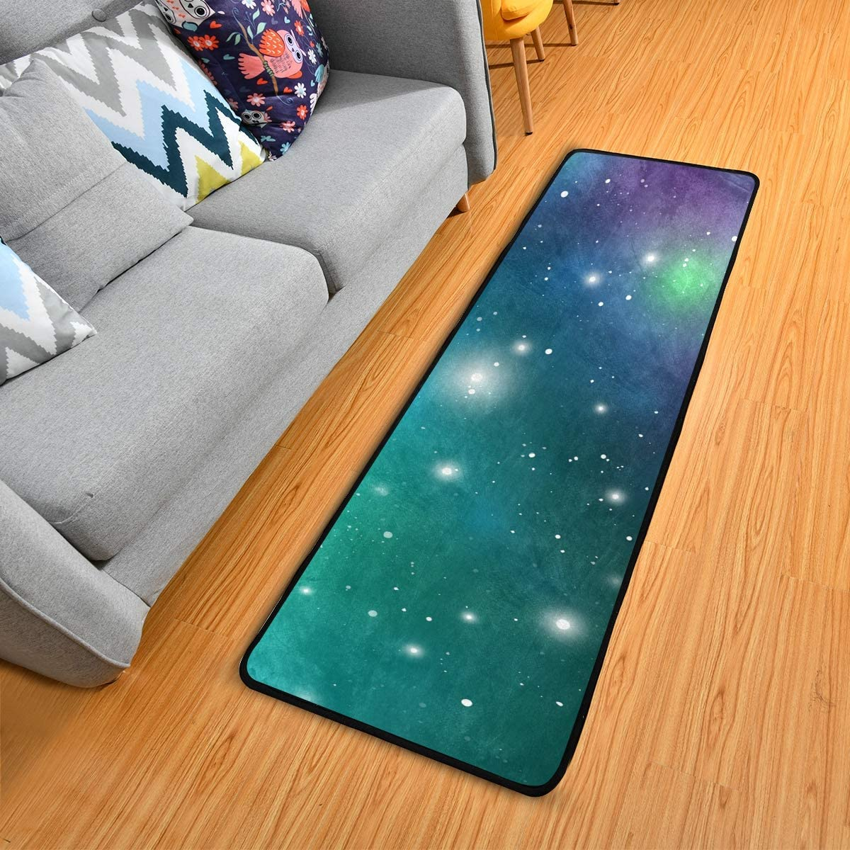 Kitchen Mat Blue Starlight Soft Kitchen Rug Bath Rug Non-Slip Doormats Large Runner Carpet 72