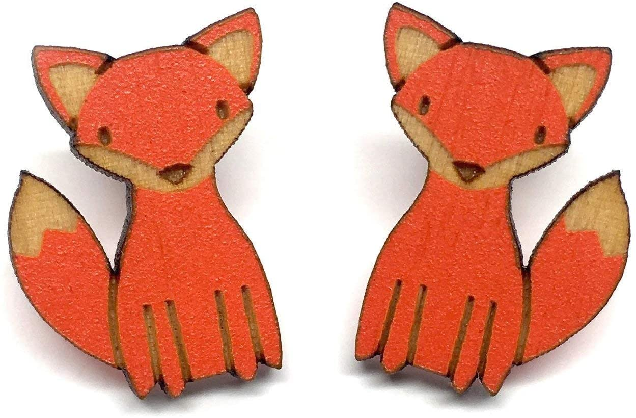 Unpossible Cuts Animals | Handpainted Laser Cut Wood Earrings from Handmade in The USA (Fox)