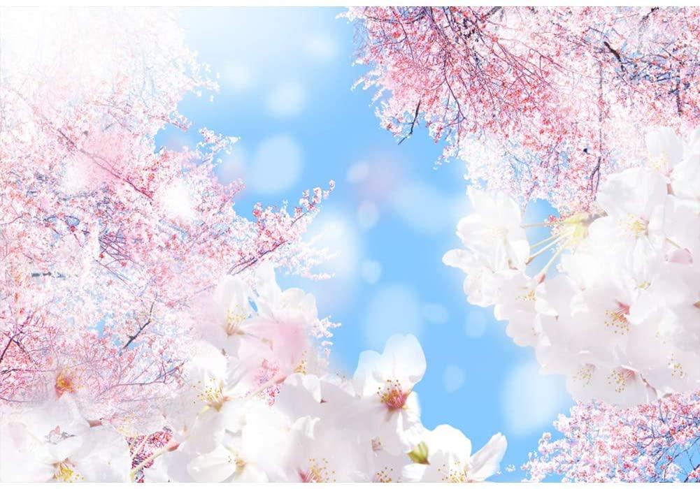 Leyiyi 9x6ft Blue Sky Cherry Blossoms Flower Backdrop Wedding Reception Portrait Shooting Travel Photo Studio Vedio Props