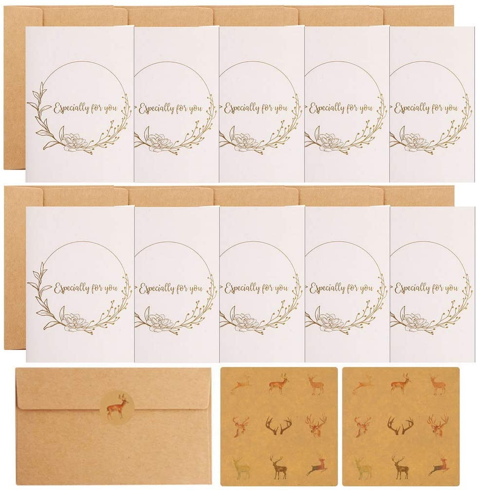 Kepfire 10 Pack Gift Card Multipack, White Golden Pattern Wedding Party Valentine Invitation Especially for You Greeting Card, Retro Kraft Paper Envelopes & 18 Pcs Sealing Sticker