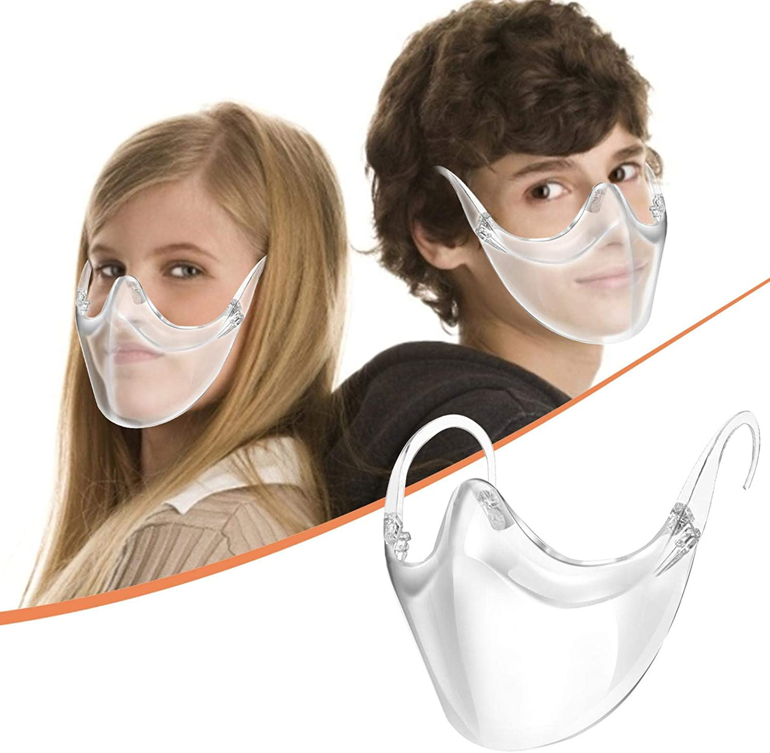 Goyalange 1PC Reusable Face_Mask for Kids Shield Clear Visual Plastic Face- for Boys Girls Coverings Washable Outdoor Protection Mini_Shield (1PC, white)