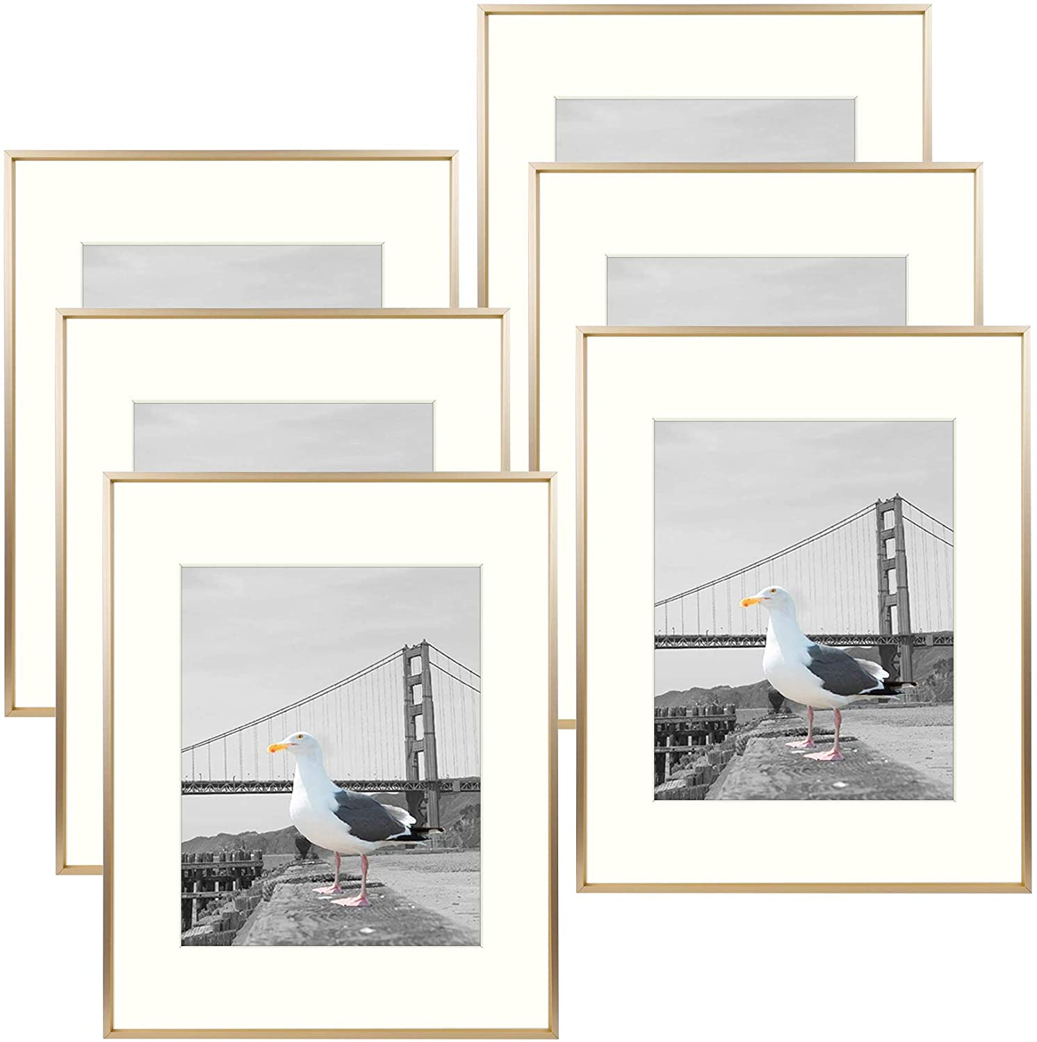 Frametory, Metal Picture Frame Collection, Aluminum Photo Frame with Ivory Color Mat & Real Glass (Gold, 6-Pack, 16x20 for 11x14 Photo)
