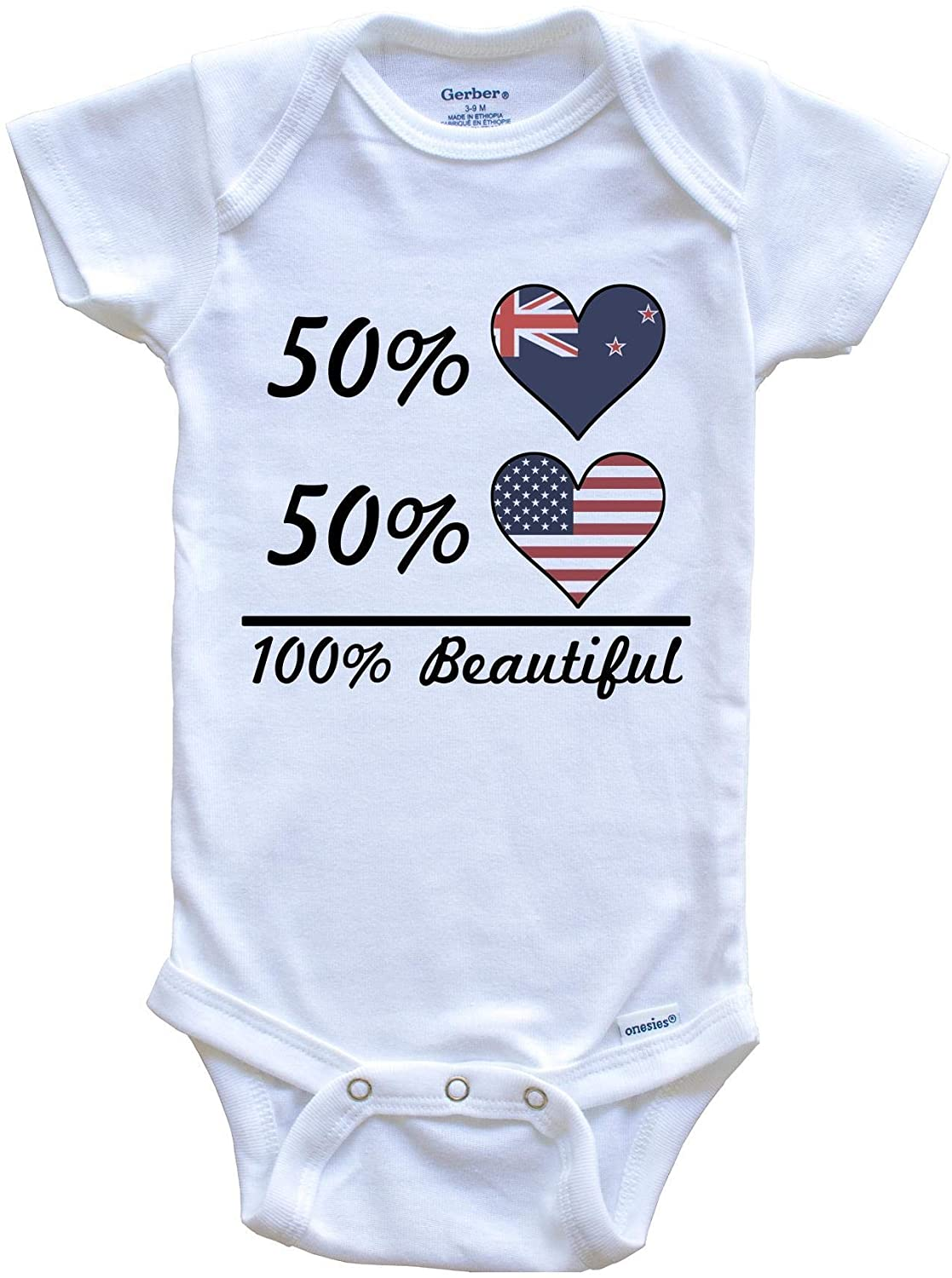 Really Awesome Shirts 50% Kiwi 50% American 100% Beautiful New Zealand Flag Heart Baby Onesie