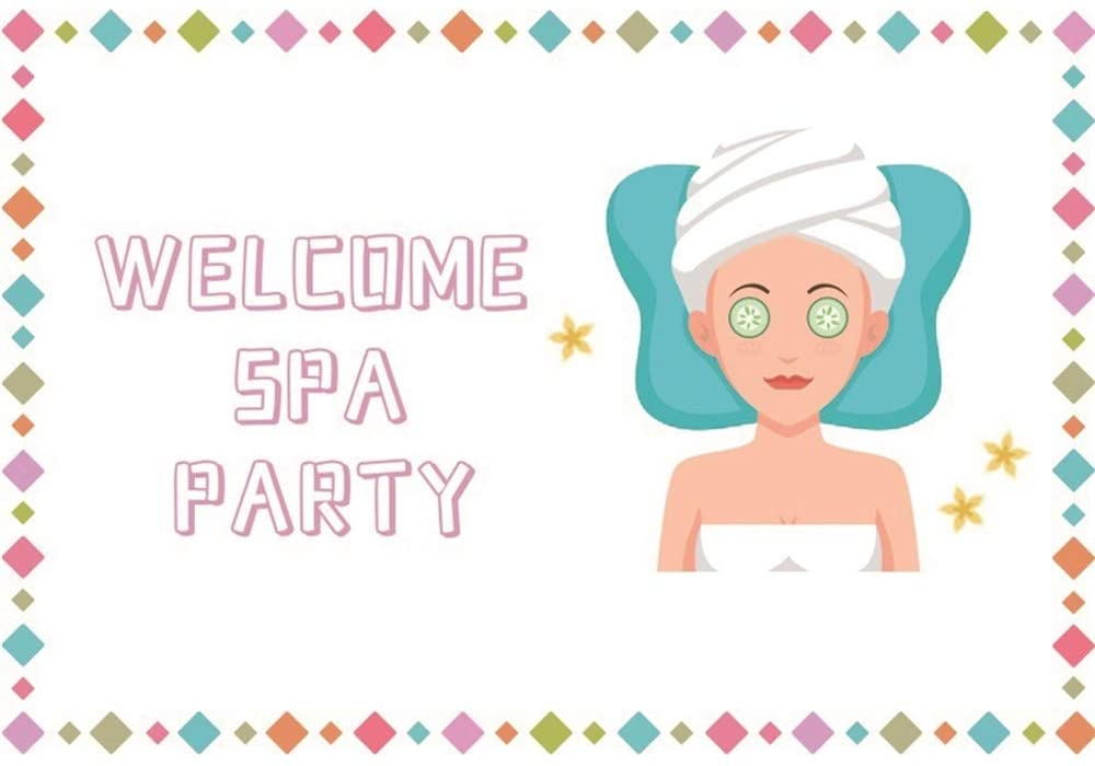 Haoyiyi 10x8ft Welcome Spa Party Backdrop Cosmetics Fashion Blogger Pamper Makeup Room Interior Vlogger Live Background Photography Photo Fashion Ball Banquet Blog Broadcaster Photobooth Decoration
