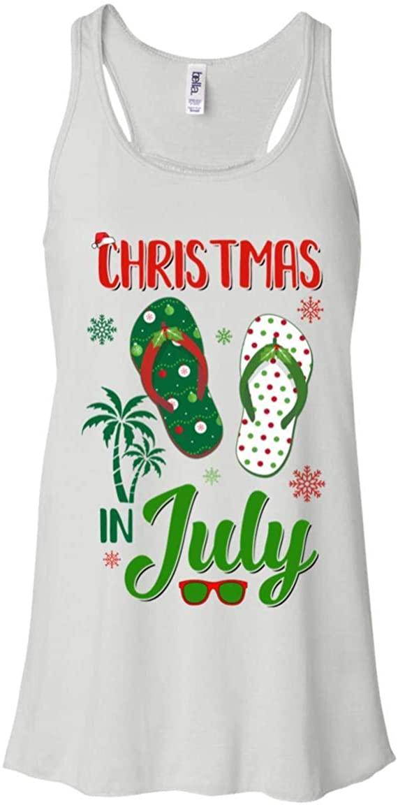 Ateesdas Women's Summer Vacation Santa Flip Flops Christmas in July Shirt Flowy Racerback Tank Top