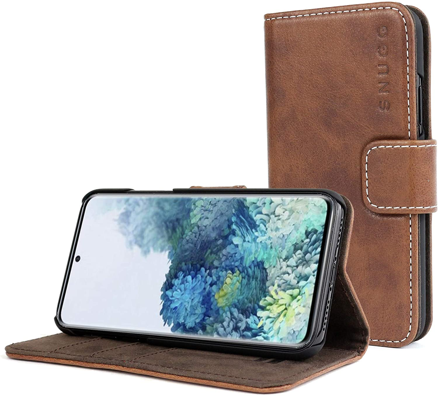 Snugg Samsung Galaxy S20 Plus Wallet Case – + Leather Card Case Wallet with Handy Stand Feature – Legacy Series Flip Phone Case Cover in Distressed Brown