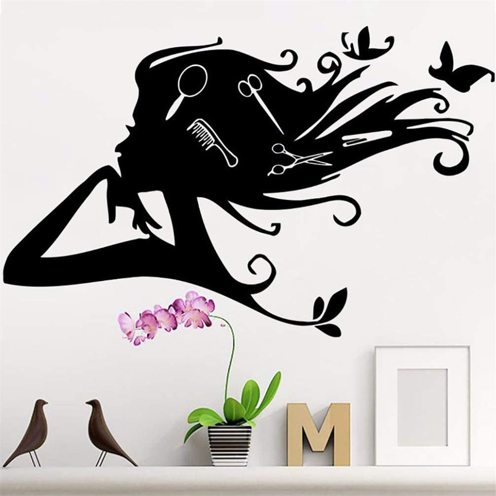 WANLING Wall Sticker Woman Hairdressing Wall Decal Lady Exquisite Life Removable PVC Decoration Home Bedroom Barber Shop Hair Salon Decor