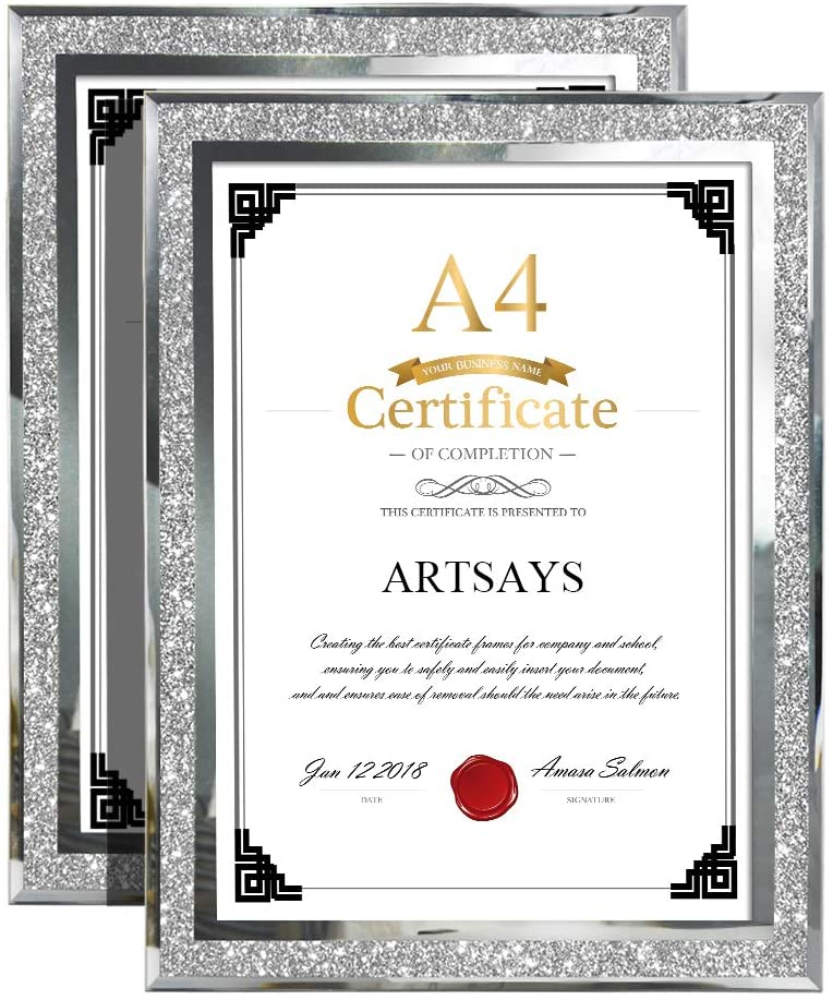 Calenzana A4 Certificate Document Diploma Picture Frames Holder, Glass Photo Frame 21 x 29.7 cm, 2 Pack